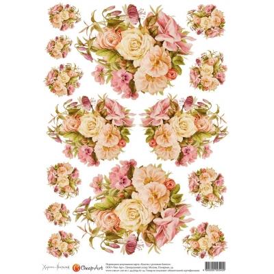 """фото декупажная карта """"букеты с розовым бантом"""" 540-ca"""