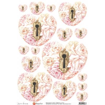 """фото декупажная карта """"сердечки из роз"""" 567-ca"""