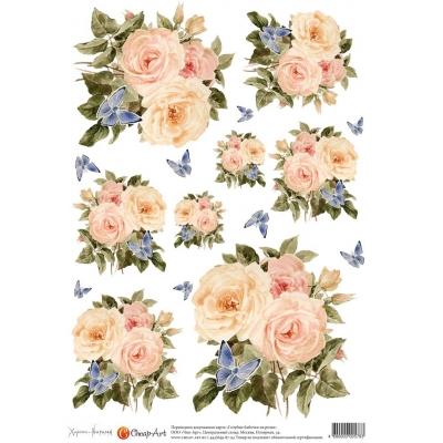 """Декупажная карта """"Голубые бабочки на розах"""" 578-CA"""