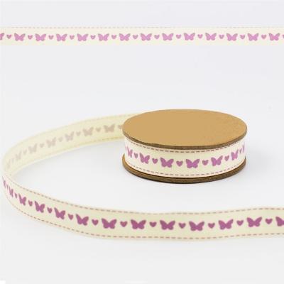 фото декоративная хлопковая лента сиреневые бабочки