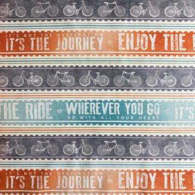 фото ткань для пэчворка путешествие на велосипеде, полоска
