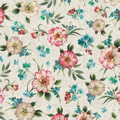 фото  ткань для рукоделия cream/pink peacock florals