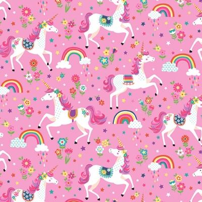 фото ткань daydream pink unicorns   by makower uk
