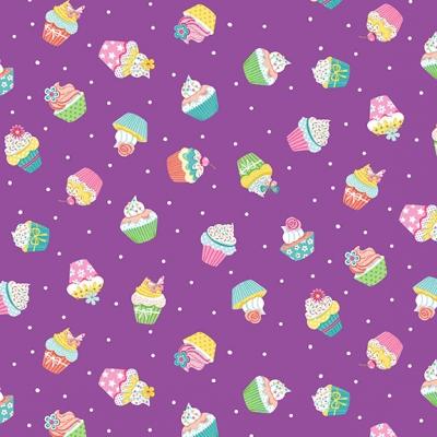 фото ткань daydream  lilac cupcakes   by makower uk