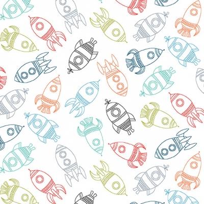 фото ткань rockets white   by makower uk