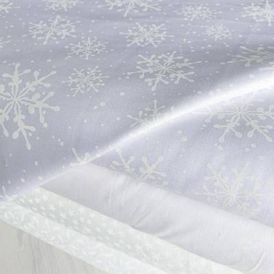 """фото ткань американский хлопок """"белые снежинки на белом"""""""