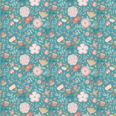 фото  ткань для рукоделия teal wildflowers