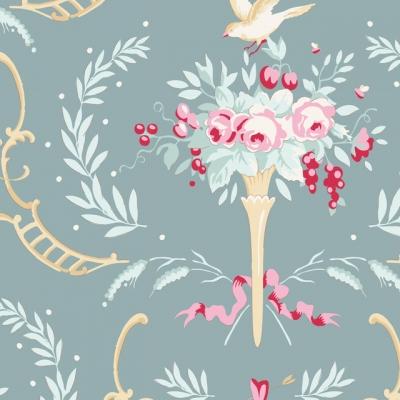 фото ткань tilda old rose birdsong teal green, 100208