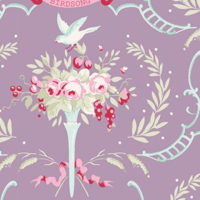 фото ткань tilda old rose birdsong mauve lilac, 100216