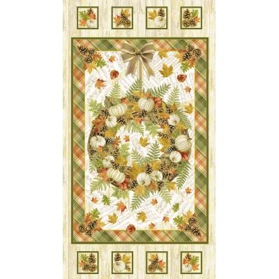 фото  ткань хлопок cream white metallic harvest panel by timeless treasures с золотым глиттером