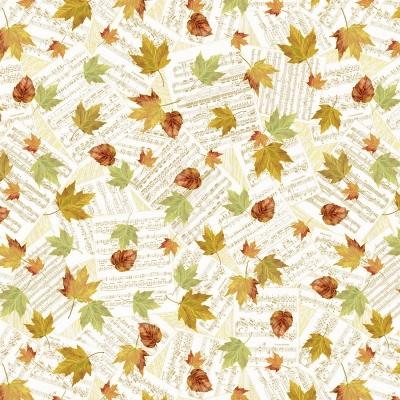 фото  ткань хлопок cream falling autumn leaves on music notes by timeless treasures с золотым глиттером