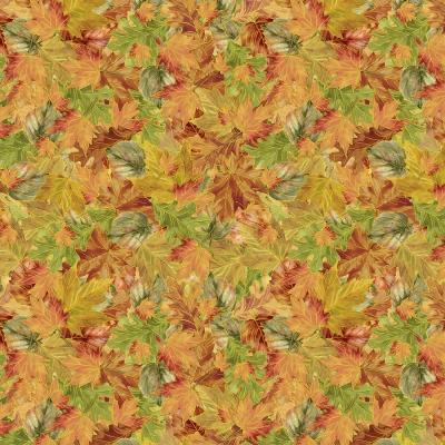 фото  ткань хлопок multi packed autumn leaves by timeless treasures с золотым глиттером