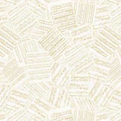 фото  ткань хлопок cream packed metallic music notes by timeless treasures с золотым глиттером