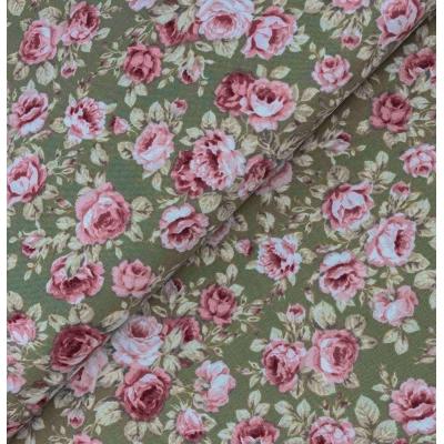 фото ткань с цветочным принтом на оливковом